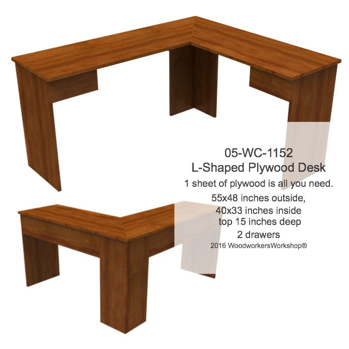 The Nothin-Fancy L-Shaped Plywood Desk woodworking plan