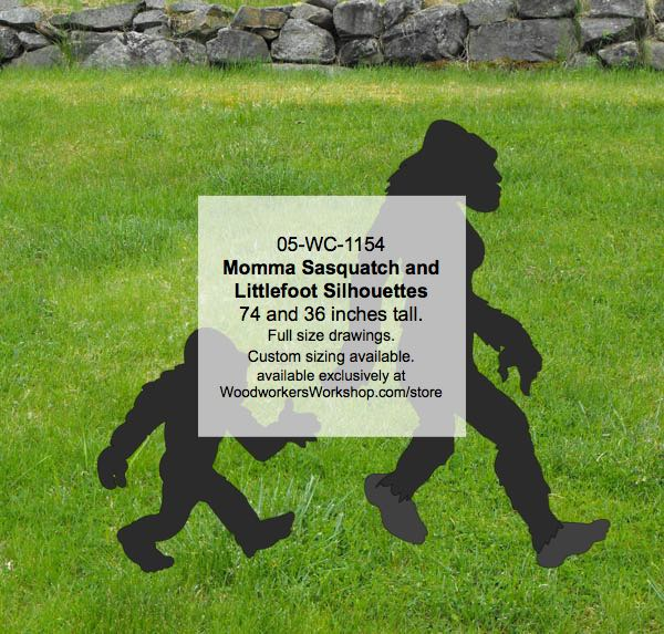 Momma Sasquatch and Littlefoot Yard Art Woodworking Pattern Set