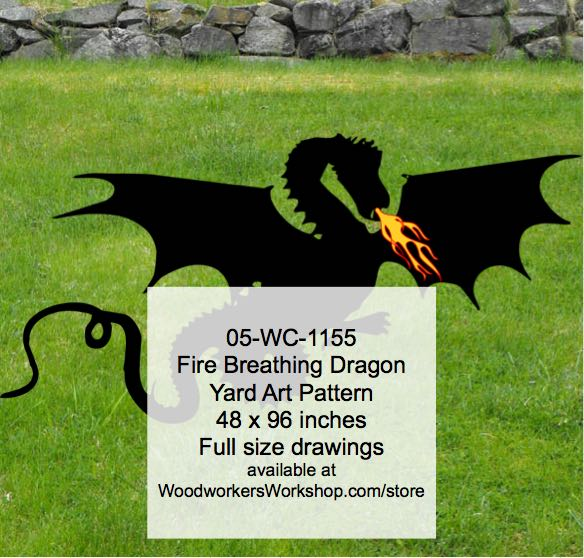 Fire Breathing Dragon Yard Art Woodworking Pattern. woodworking plan