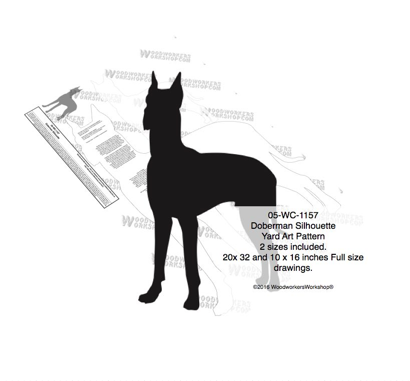 Doberman Dog Silhouette Yard Art Woodworking Pattern woodworking plan