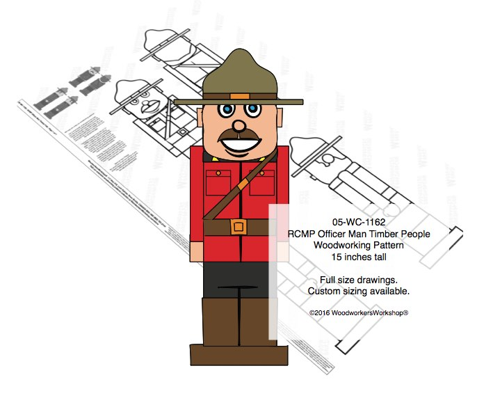 RCMP Officer Man Timber People Woodworking Pattern