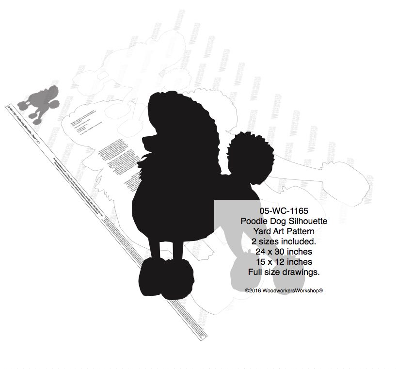 Poodle Dog Silhouette Yard Art Woodworking Pattern - 2 sizes included