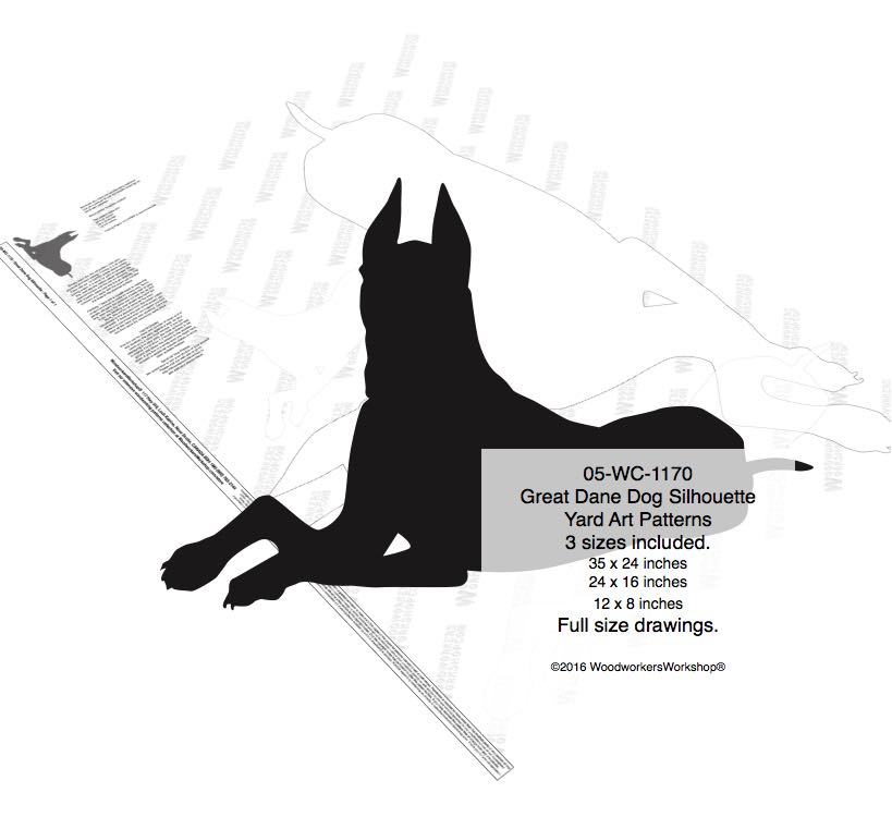 Great Dane Dog Silhouette Yard Art Woodworking Plans 3 sizes included woodworking plan