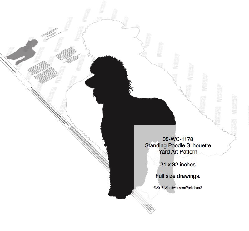05-WC-1178 - Standing Poodle Dog Silhouette Yard Art Woodworking Pattern