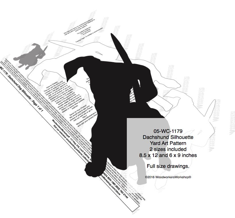 05-WC-1179 - Dachshund Dog Silhouette Yard Art Woodworking Pattern