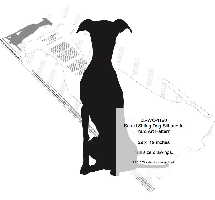 05-WC-1180 - Saluki Sitting Dog Silhouette Yard Art Woodworking Pattern