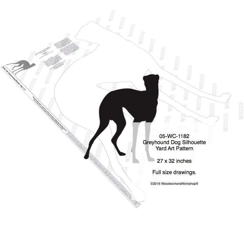05-WC-1182 - Greyhound Dog Silhouette Yard Art Woodworking Pattern