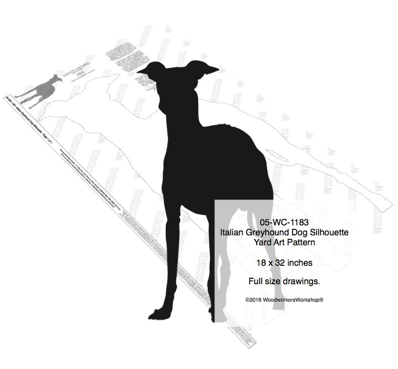 Italian Greyhound Dog Silhouette Yard Art Woodworking Pattern woodworking plan