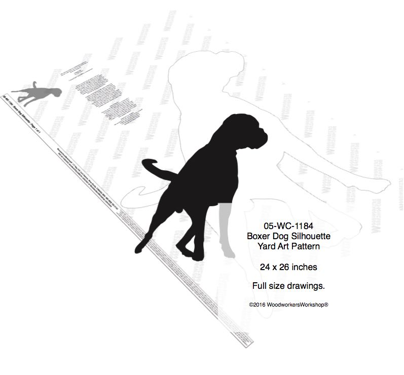 Boxer Dog Silhouette Yard Art Woodworking Pattern woodworking plan