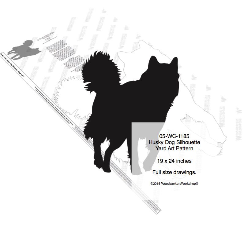 05-WC-1185 - Husky Dog Silhouette Yard Art Woodworking Pattern