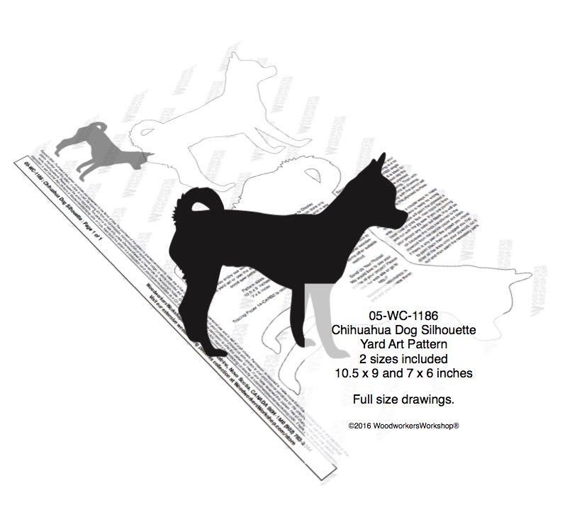 05-WC-1186 - Chihuahua Dog Silhouette Yard Art Woodworking Plan - 2 sizes included