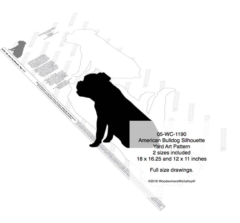 American Bulldog Silhouette Yard Art Woodworking Plan