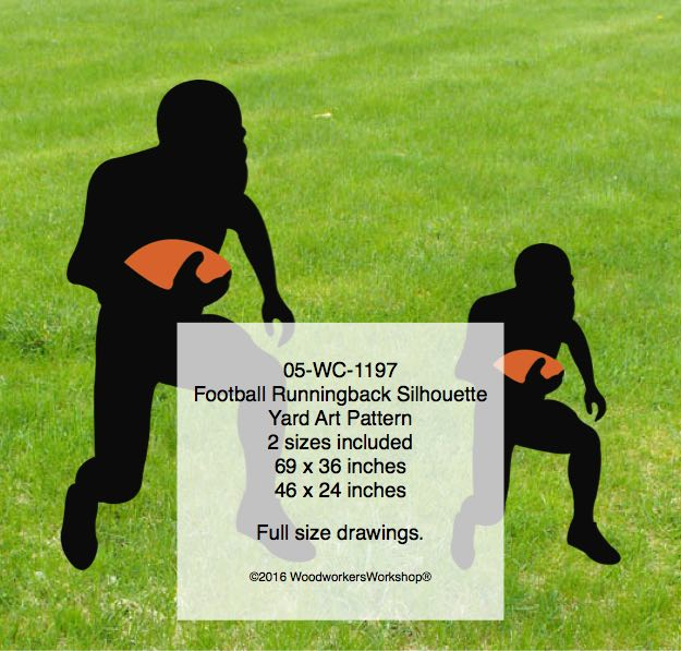 05-WC-1197 - Football Runningback Silhouette Yard Art Woodworking Pattern