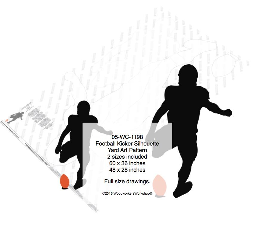 Football Kicker Silhouette Yard Art Woodworking Pattern woodworking plan