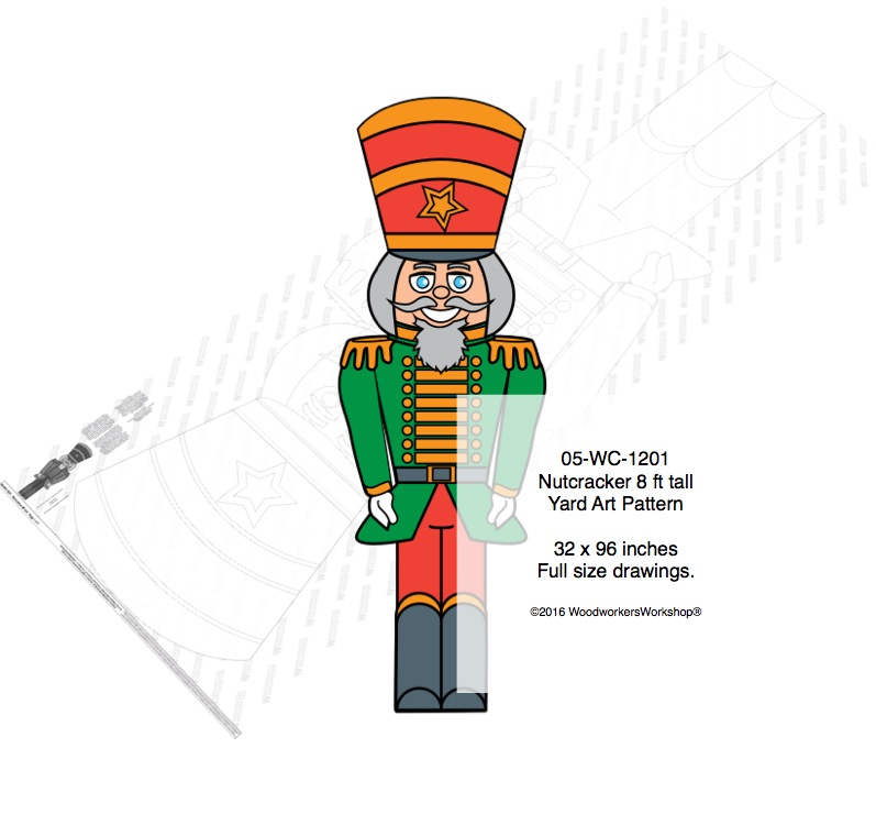 Nutcracker 8 ft tall Yard Art Woodworking Pattern
