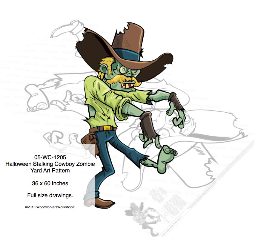 Halloween Stalking Cowboy Zombie Yard Art Woodworking Pattern woodworking plan