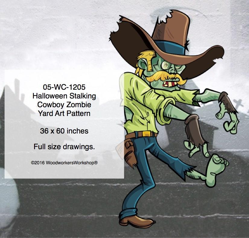 Halloween Stalking Cowboy Zombie Yard Art Woodworking