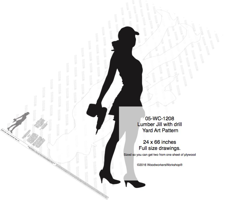 Lumber Jill with drill Silhouette Woodworking Pattern
