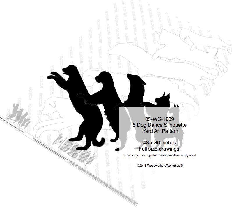 5 Dog Dance Silhouette Woodworking Pattern