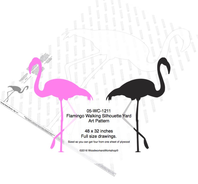 Flamingo Walking Yard Art Woodworking Pattern