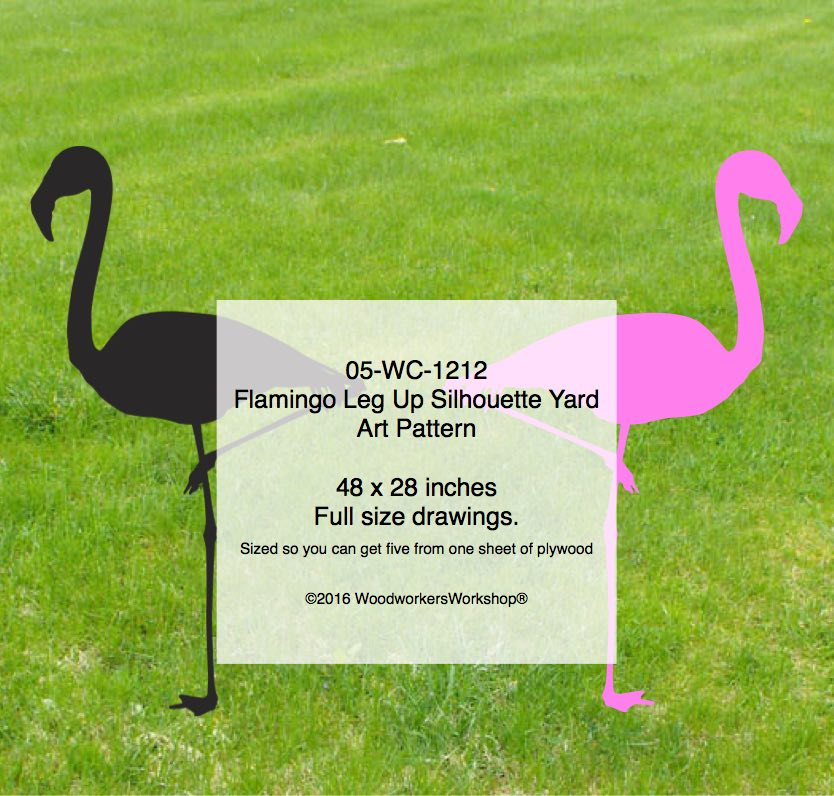 Flamingo Leg Up Silhouette Woodworking Pattern