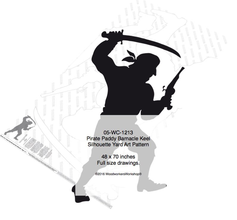 Pirate Paddy Barnacle Keel Silhouette Woodworking Pattern woodworking plan