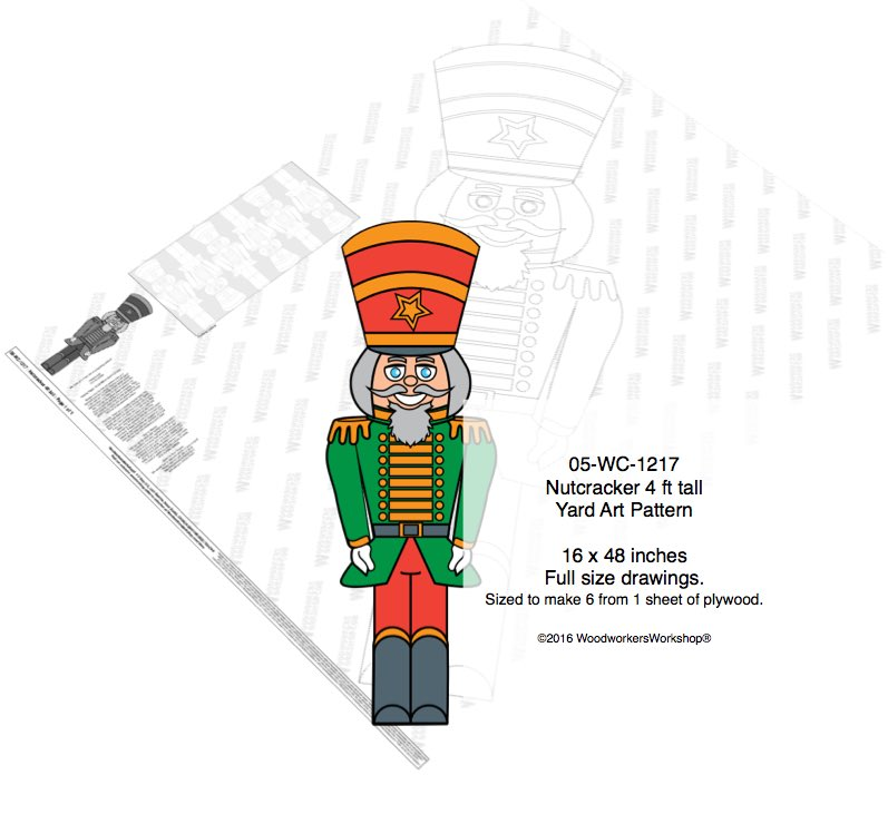 Nutcracker 4 ft tall Yard Art Woodworking Pattern woodworking plan