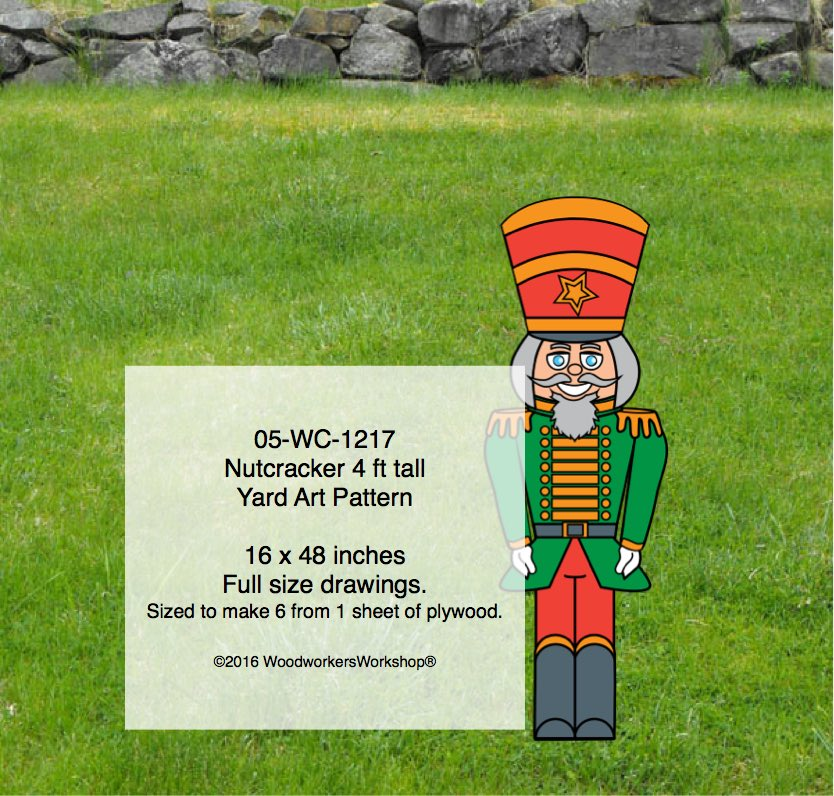 Nutcracker 4 ft tall Yard Art Woodworking Pattern