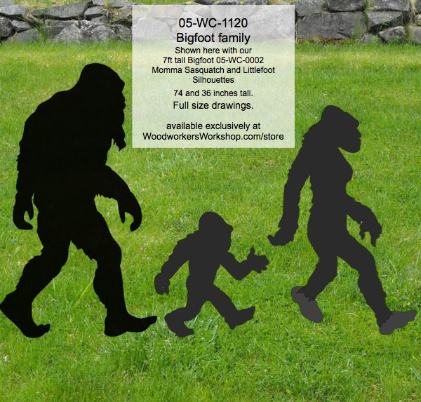 Bigfoot Family of Sasquatch Yard Art Woodworking Pattern Set woodworking plan