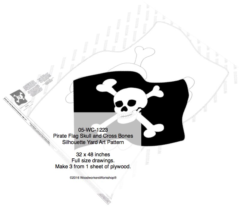 Pirate Flag Skull and Cross Bones Shadow Yard Art Woodworking Pattern