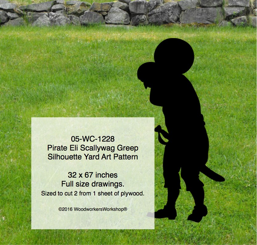Pirate Eli Scallywag Greep Silhouette Yard Art Woodworking Pattern
