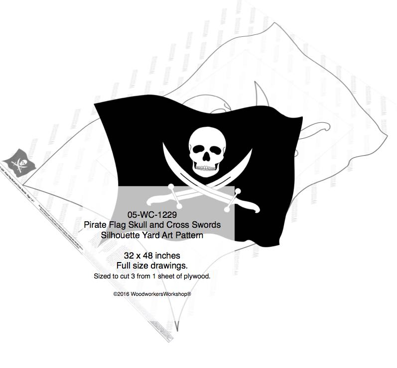 Pirate Flag Skull and Cross Swords Yard Art Woodworking Pattern woodworking plan