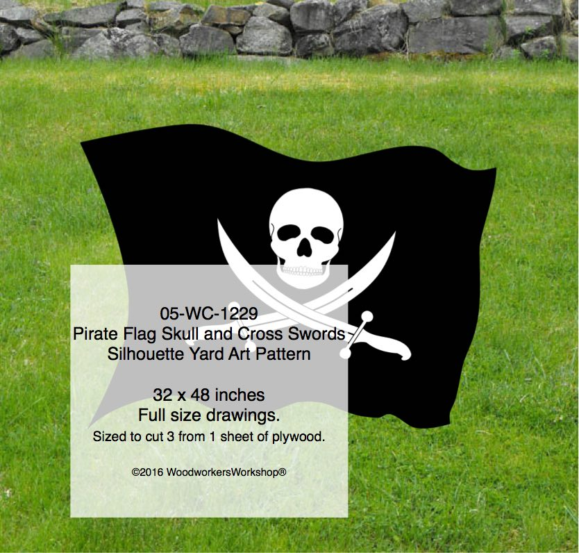 Pirate Flag Skull and Cross Swords Yard Art Woodworking Pattern