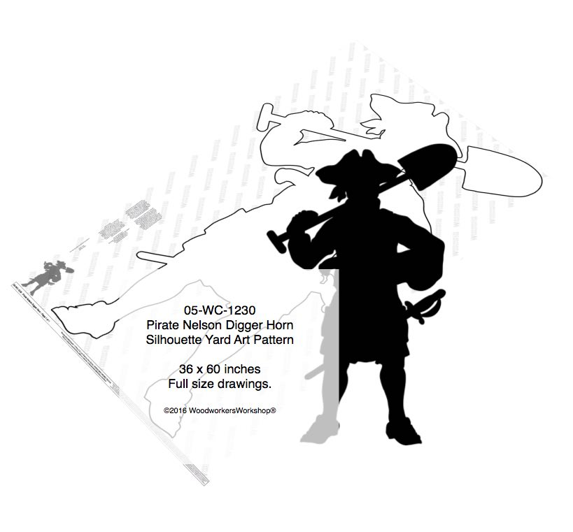 Pirate Nelson Digger Horn Silhouette Yard Art Woodworking Pattern woodworking plan