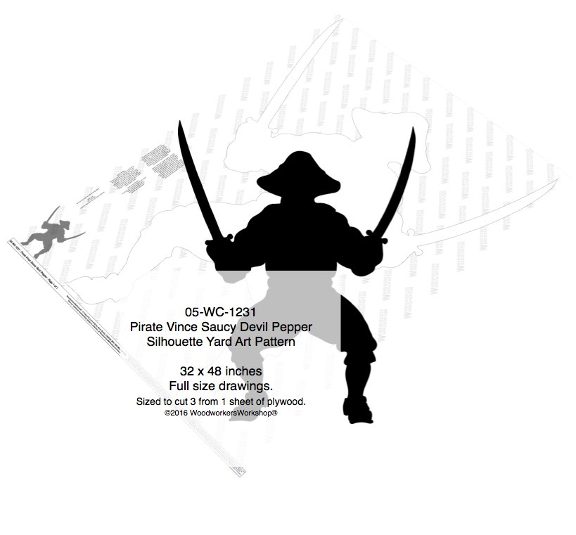 Pirate Vince Saucy Devil Pepper Shadow Yard Art Woodworking Pattern woodworking plan