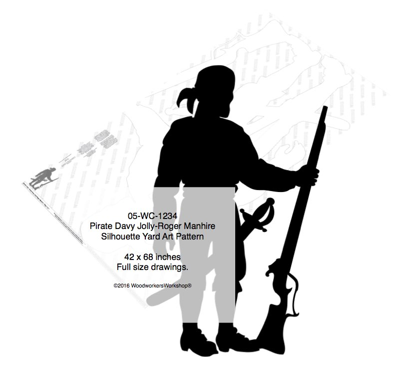 05-WC-1234 - Pirate Davy Jolly-Roger Manhire Shadow Yard Art Woodworking Pattern