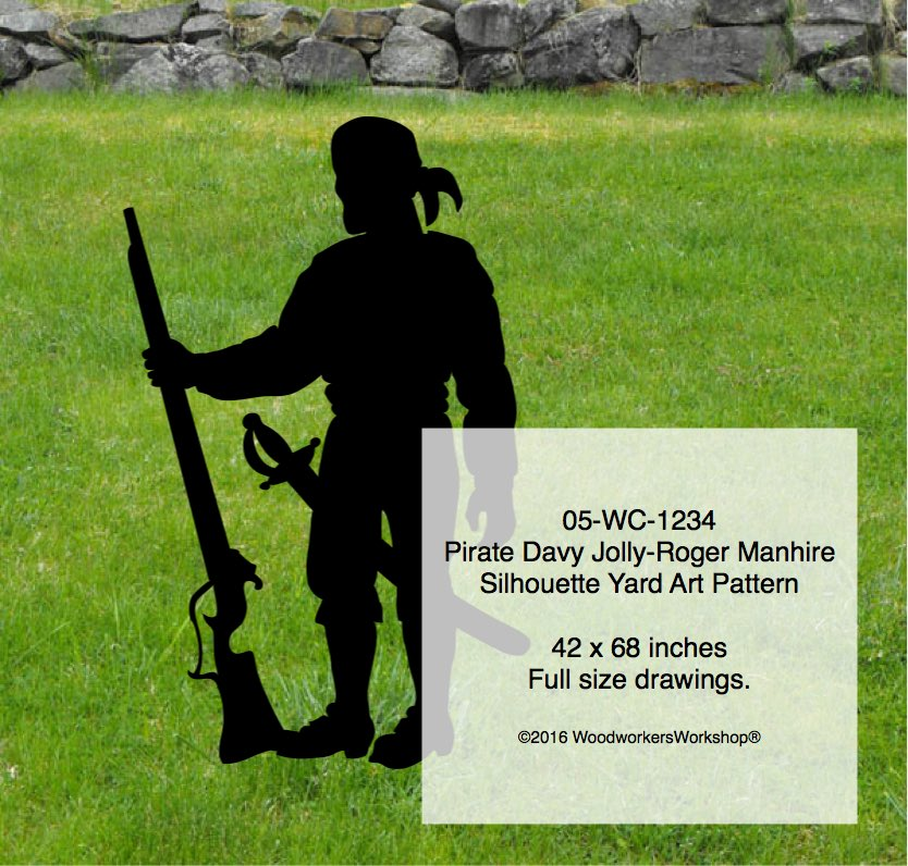 Pirate Davy Jolly-Roger Manhire Shadow Yard Art woodworking plan