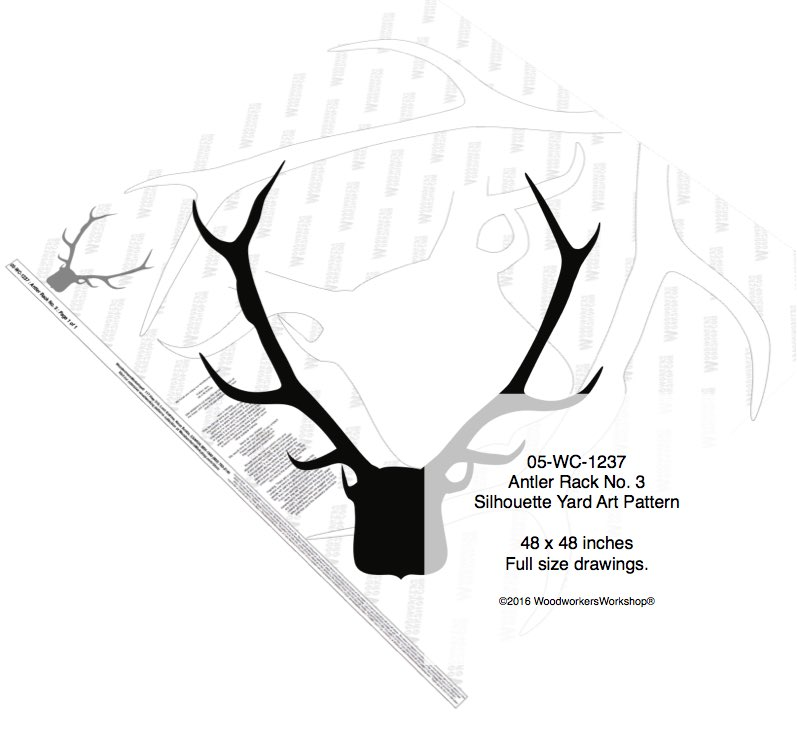 Antler Rack No.3 Silhouette Woodworking Pattern woodworking plan