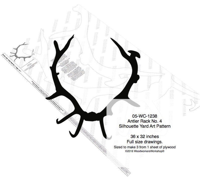 Antler Rack No.4 Silhouette Woodworking Pattern woodworking plan