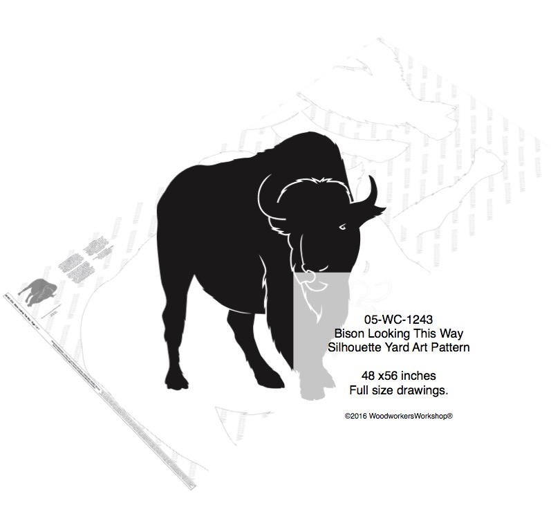 Bison Looking This Way Silhouette Yard Art Woodworking Pattern woodworking plan