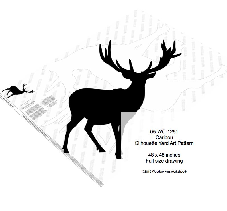 Caribou Silhouette Yard Art Woodworking Pattern woodworking plan