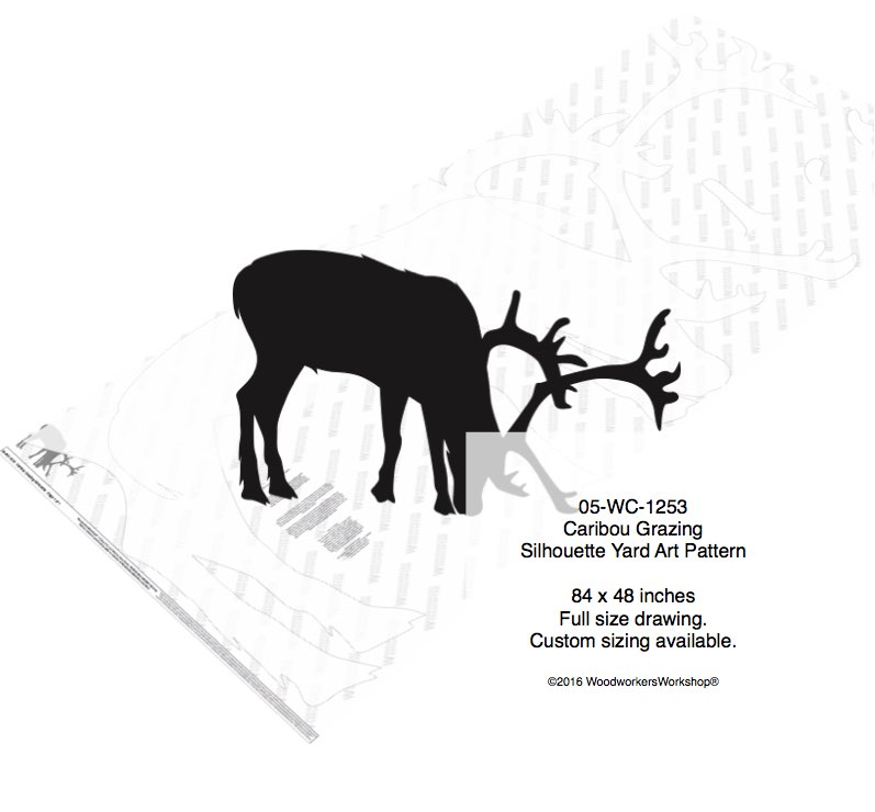 Caribou Grazing Silhouette Yard Art Woodworking Pattern woodworking plan