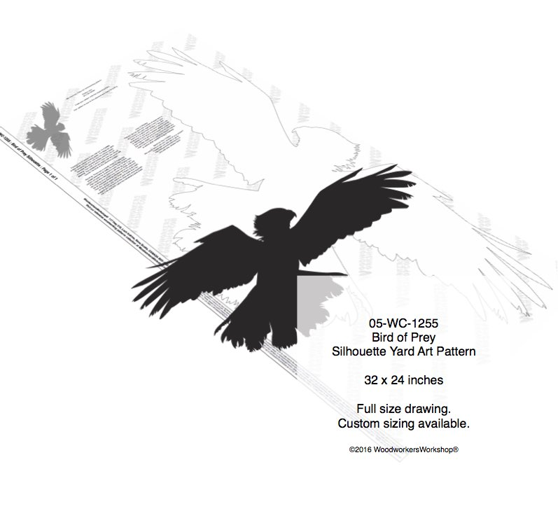 Bird of Prey Silhouette Yard Art Woodworking Pattern