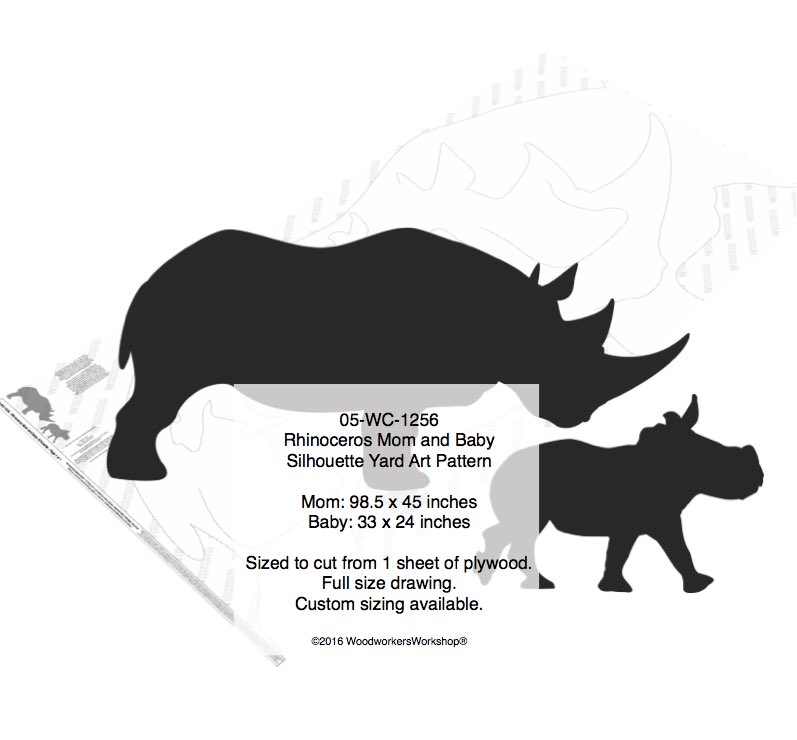 Rhinoceros Mom and Baby Silhouette Yard Art Woodworking Pattern woodworking plan