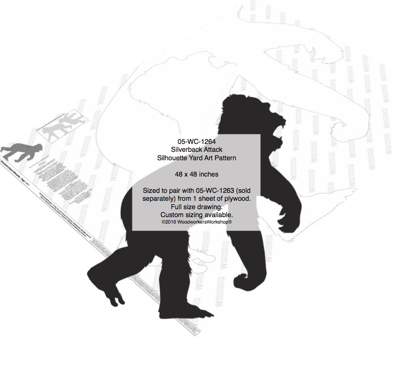 Silverback Attack Silhouette Yard Art Woodworking Pattern woodworking plan