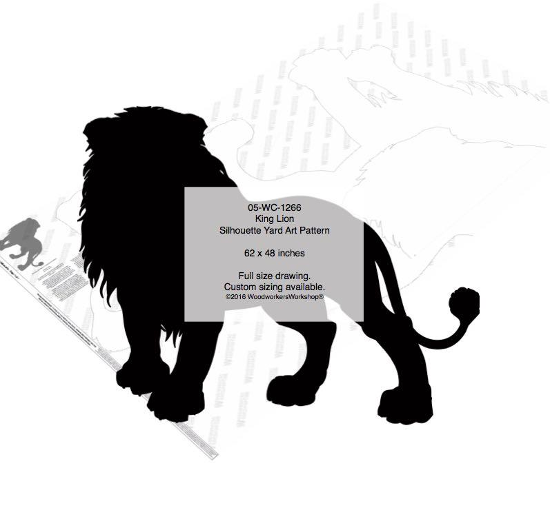 King Lion Silhouette Yard Art Woodworking Pattern woodworking plan
