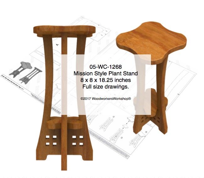 Mission Style Plant Stand Woodworking Pattern woodworking plan