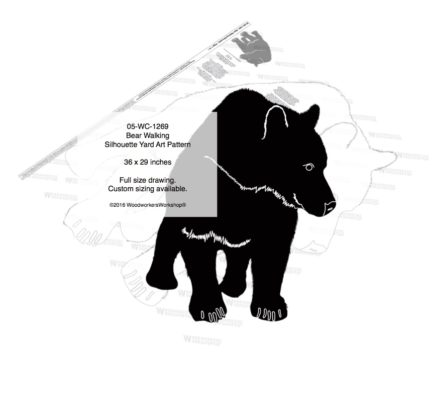 Bear Walking Silhouette Yard Art Woodworking Pattern woodworking plan