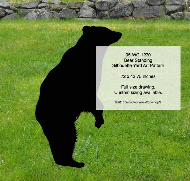 Bear standing silhouette yard art woodworking pattern for Yard shadow patterns