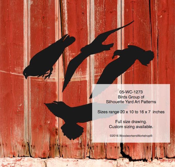 Birds Group of Silhouettes Yard Art Woodworking Patterns